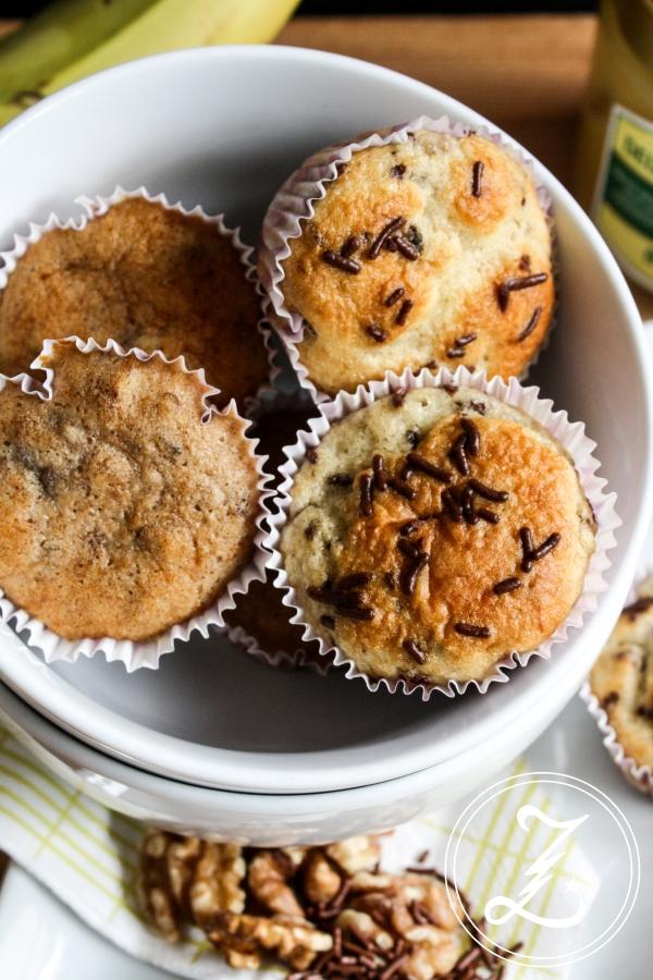 wundervoll variable Bananen-Muffins ohne Fett | Zuckergewitter.de