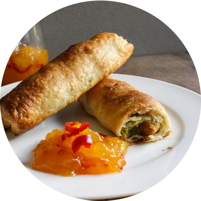 Pistazien-Hähnchen-Taschen mit Mango Chutney 29